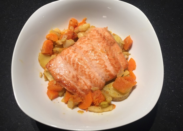 HONEY GLAZED SALMON WITH A PUMPKIN - PARSNIP - POTATOE PARTY